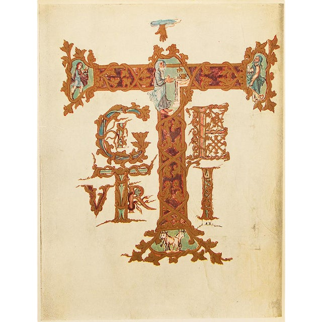 1949 Letter T From Dragon's Sacramentary, First Edition Vintage Gold Ink Lithograph For Sale