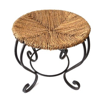 Moroccan Rattan & Fer Forge Stool For Sale