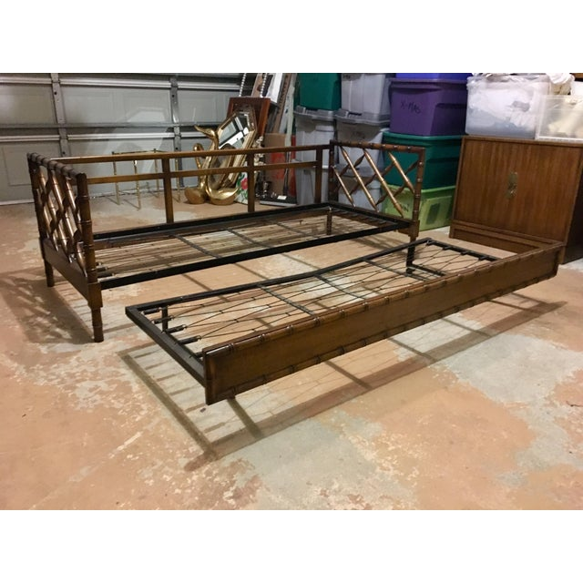 1970s 1970s Boho Chic Rollout Faux Bamboo Twin Trundle Bedframe For Sale - Image 5 of 13