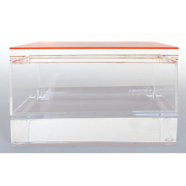 Early 21st Century Custom Lucite Box With Orange Lucite Top For Sale - Image 5 of 6