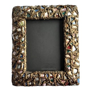 Antique Tramp Art, Pique Assiette, Trencadis Memory Ware Picture Frame For Sale
