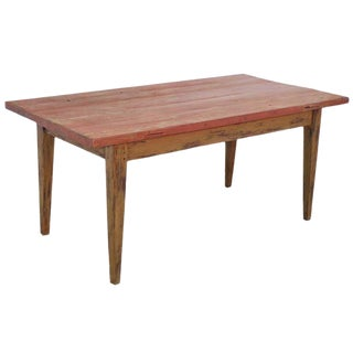 Painted Farm Table in Reclaimed Antique Wood, Custom Made by Petersen Antiques For Sale