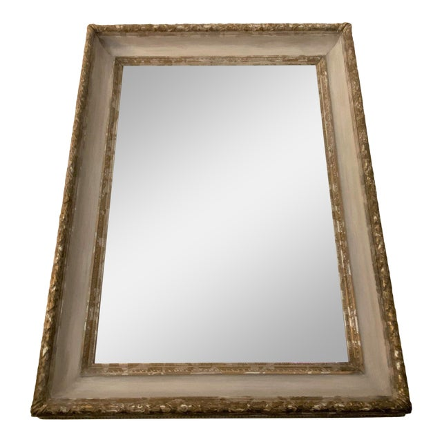 Antique Italian Gilt & Gray Painted Mirror For Sale