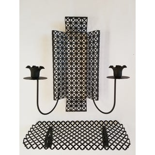 Mid Century Modern Wire Mesh Candle Holder & Shelf Set Preview