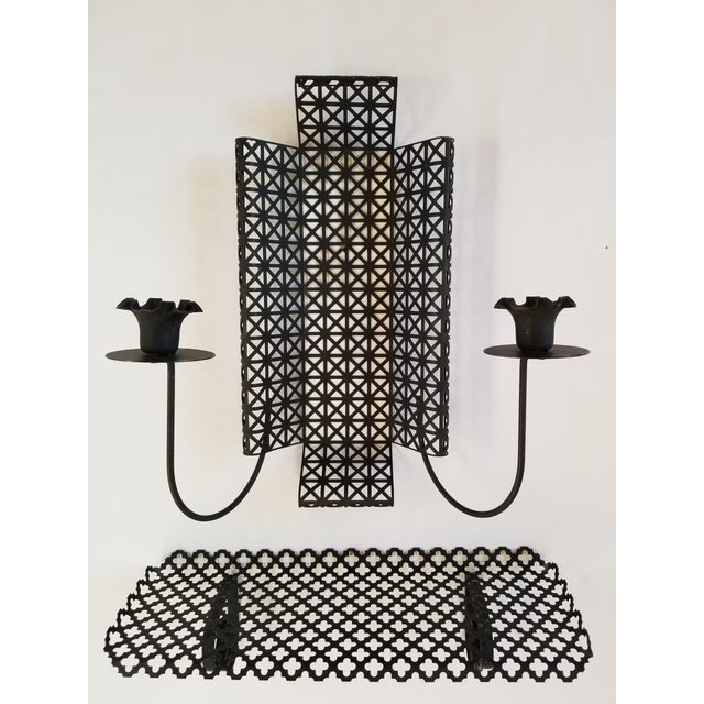 Mid Century Modern lattice black mesh metal candleholder, and hanging shelf. The lattice design is different on both...