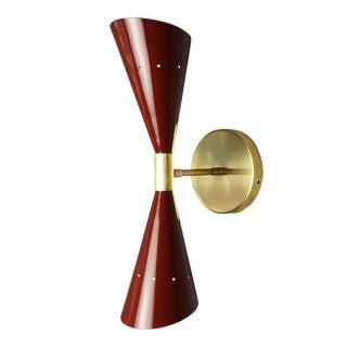 """Italian Modern Brass & Enamel """"Oblique"""" Wall Sconce"""