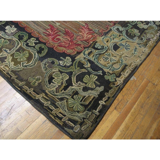 """American Antique American Hooked Rug 8'10' X 10'3"""" For Sale - Image 3 of 6"""