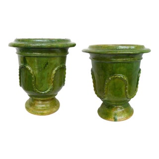 Pair of European Neoclassical Glazed Terracotta Planters For Sale