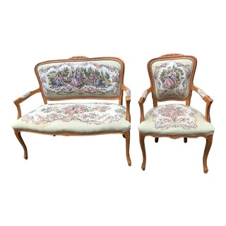Vintage Chateau d'Ax French Provincial Louis XV Style Tapestry Fauteuil Bergere Style Settee - a Pair For Sale
