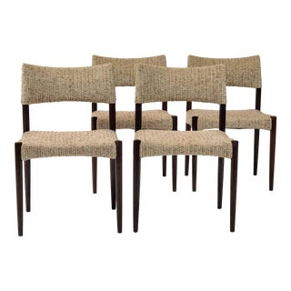 1950s Danish Modern Einer Larsen & Aksel Bender-Madsen Rosewood & Pale Wool Dining Chairs - Set of 4 For Sale