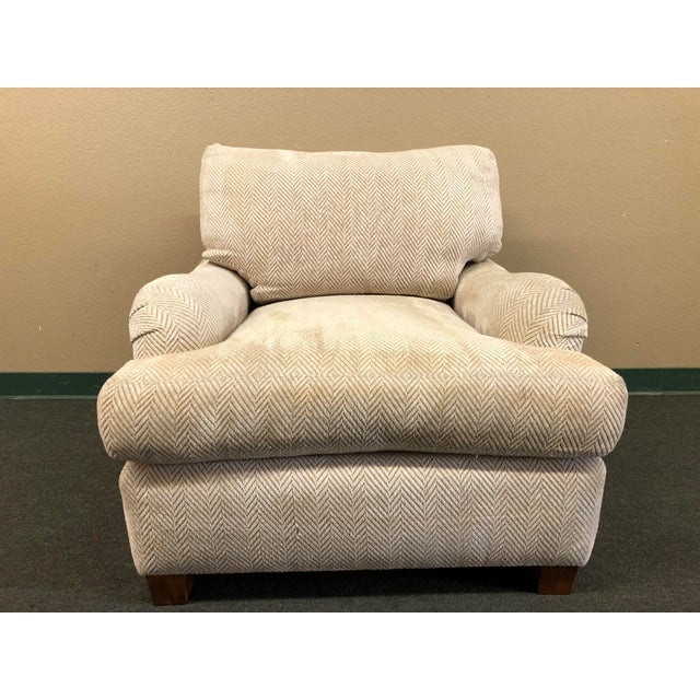 Contemporary Custom Chenille Arm Chair For Sale - Image 10 of 10