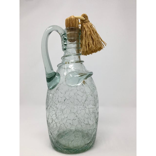 Mid-Century Swedish Crackle Glass Bottle For Sale - Image 9 of 9