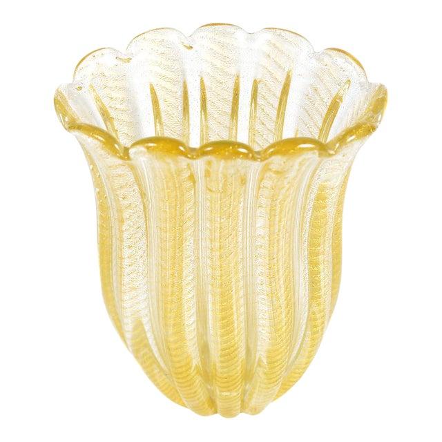 Barovier Toso -Beautiful Murano Glass Vase -Cordonato Gold Flecks For Sale
