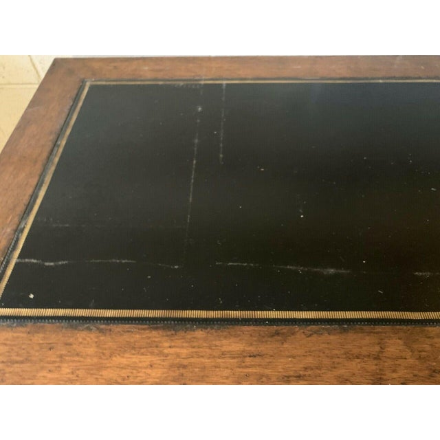 Metal Late 20th Century English Traditional Leather Top Writing Desk For Sale - Image 7 of 10