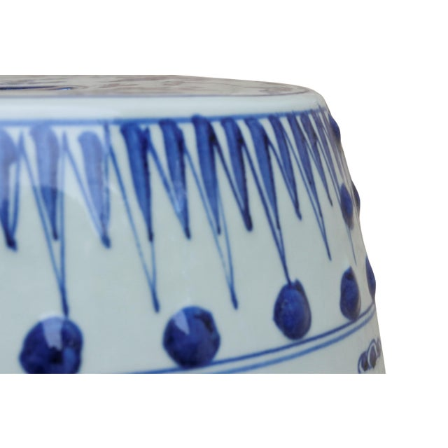 Chinese Blue & White Ceramic Garden Stool For Sale - Image 4 of 7