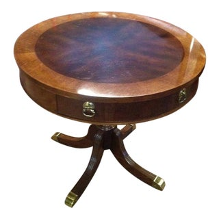 20th Century Bassett Cherry Drum Table With Drawer For Sale