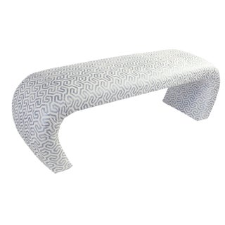 1960s Hollywood Regency Karl Springer Style White Waterfall Bench