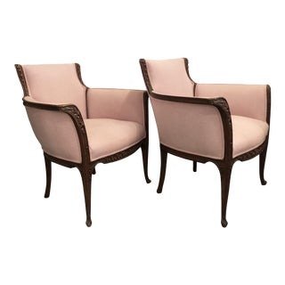 Art Nouveau Style Pink Armchairs - A Pair For Sale