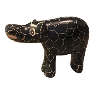 Carved Stone Hippo Sculpture