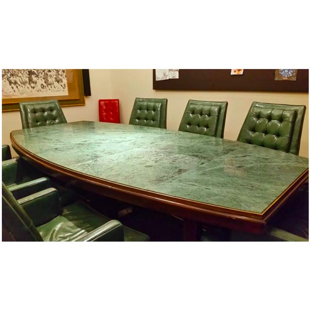 Large table and chairs set made by Mid-Century San Francisco furniture designer Ray See for See-Mar Designs in 1968. Green...