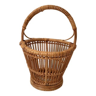 Vintage Handled Basket For Sale