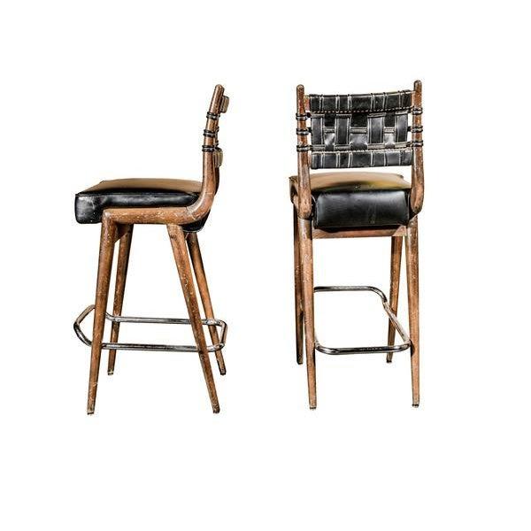 Mid-Century Danish Wood & Chrome Woven Leather Barstools - Set of 4 - Image 2 of 6