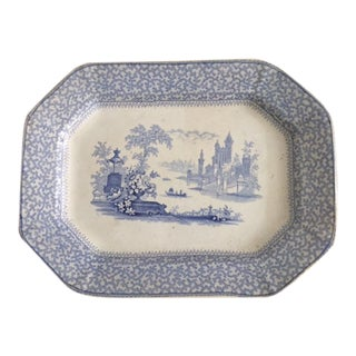 19th Century Small Blue and White Ironstone Platter For Sale