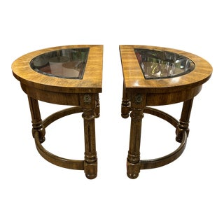 Vintage Mid Century Modern Demilune Walnut Side Tables - a Pair For Sale