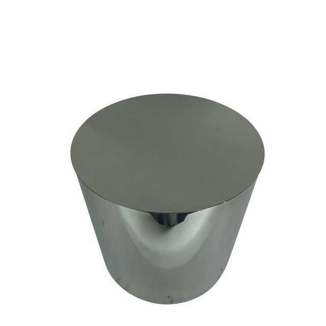 Aluminum Cylindrical Drum Table With Stainless Steel Top For Sale - Image 4 of 6