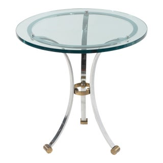 1970s French Hollywood Regency Polished Chrome Brass and Glass Round Side Table Attributed to Maison Janson For Sale