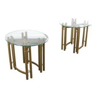Hollywood Regency Glass on Brass Statement End Tables - A Set of Two For Sale