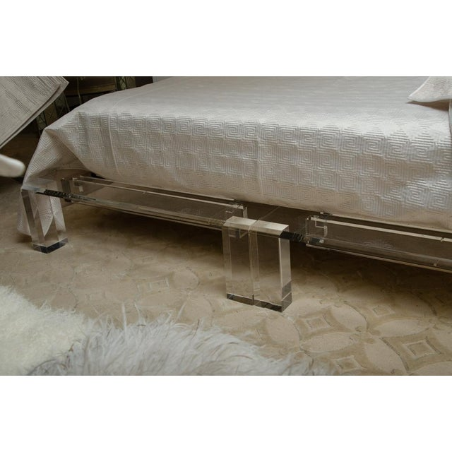 Textile Mid-Century Modern Lucite King Sized Bed For Sale - Image 7 of 10
