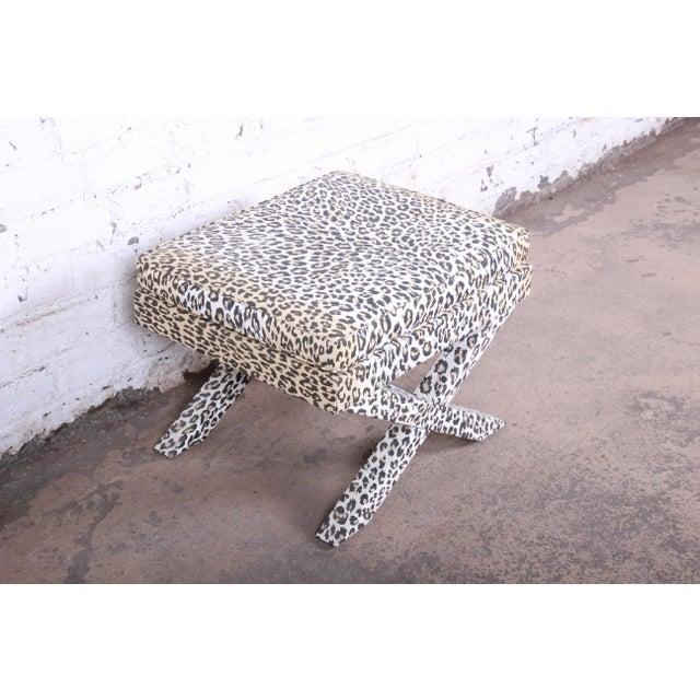 Milo Baughman Patrick Frey X-Base Leopard Stool or Ottoman, Paris For Sale - Image 4 of 13