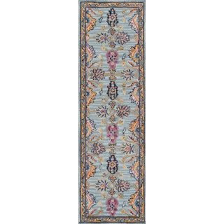 "Ibiza Blue Hand Tufted Area Rug 2'3"" X 7'10"" Runner For Sale"
