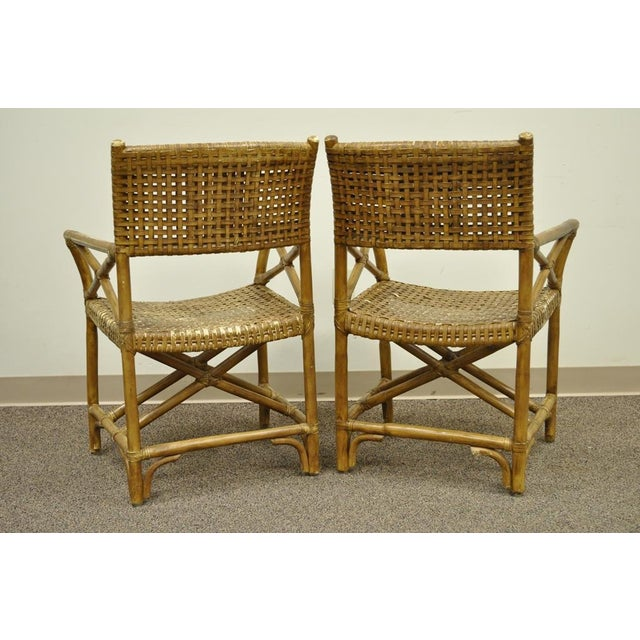 Faux Bamboo Rattan Sunroom Dining Patio Set Table 4 Chairs McGuire ...