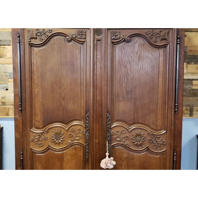 Antique 18th Century French Normandy Country Double Door Wedding Armoire Cabinet C1790 For Sale - Image 9 of 13