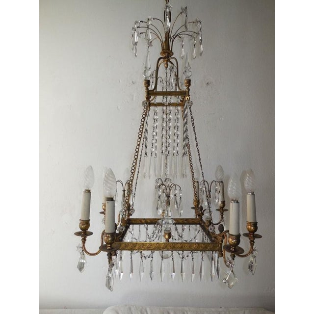 19th Century French Neoclassical Crystal and Bronze Chandelier with Spears For Sale - Image 11 of 11