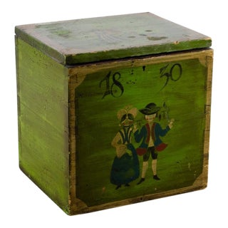 Folk Art Painted Decor Storage Box For Sale