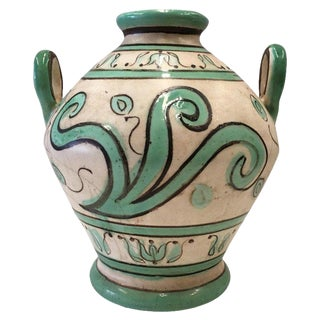 20th Century Spanish Glazed Cruche, Urn With Two Handles For Sale