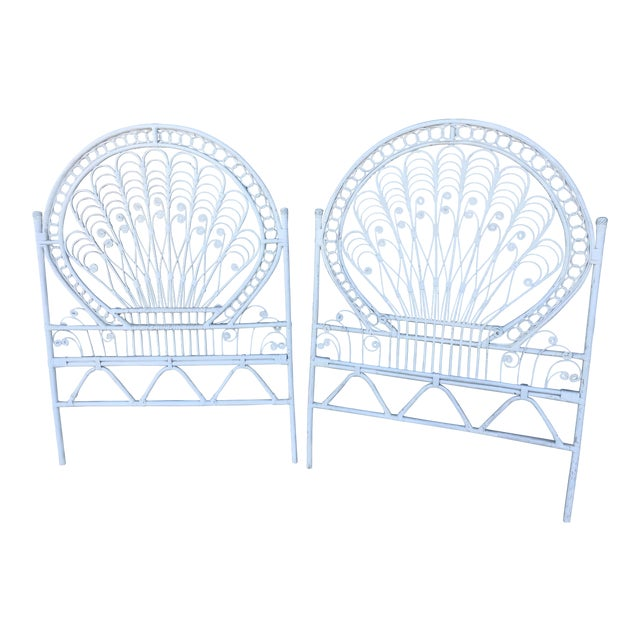 Vintage White Wicker Twin Headboards - a Pair For Sale