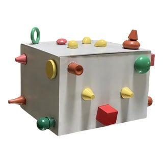 1987 Post Modern Hinged Lidded Metal Box by Billie Javancie, Signed For Sale