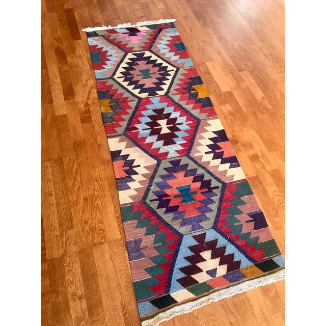 "Textile Vintage Turkish Kilim -2'2"" 6'3"" For Sale - Image 7 of 11"