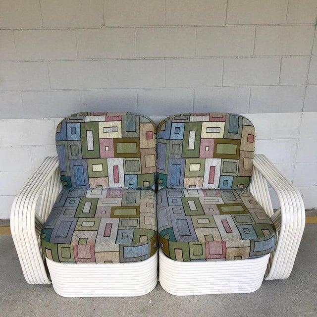 Two Rattan Sofa Frames by Paul Frankl, in Dove White For Sale In Atlanta - Image 6 of 13