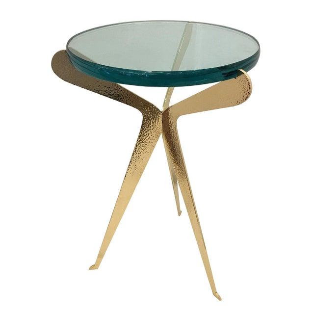 "'Fiore"" Side Table-Hammered Brass Version For Sale In New York - Image 6 of 6"
