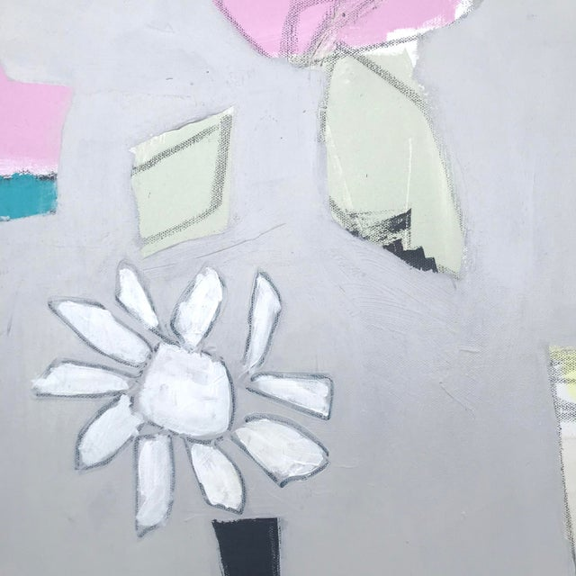 """Sarah Trundle Sarah Trundle, """"Happy Flowers"""", Contemporary Abstract Painting For Sale - Image 4 of 5"""