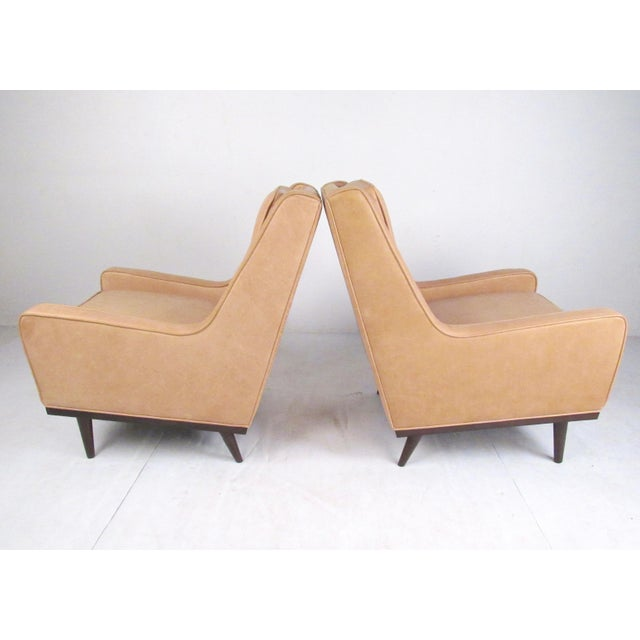 Early 21st Century Pair Modern Leather Lounge Chairs For Sale - Image 5 of 11