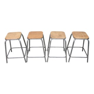 Vintage Mid Century French Industrial Stools- Set of 4 For Sale