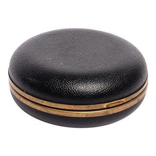 Vintage Black Leather Seth Thomas Travel Alarm Clock For Sale
