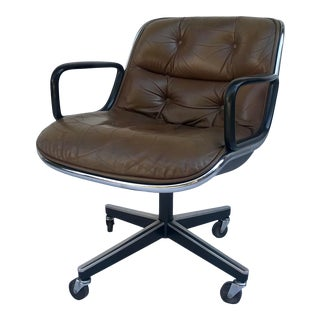 Vintage Knoll Brown Leather Pollock Executive Chair For Sale