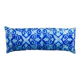 Vintage X-Large Rectangle Light Blue/Cobalt Blue Silk Velvet Ikat Pillow For Sale